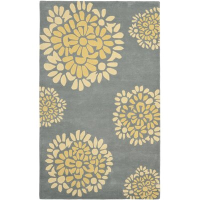 Sunny Petal Mosaic Hand Tufted Wool/Cotton Cement Area Rug Rug Size: Rectangle 26 x 43
