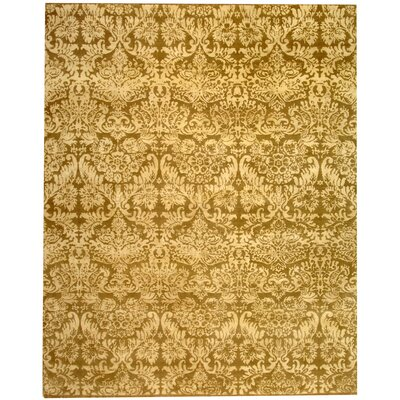 Duy Damask Hand Knotted Wool Yellow Area Rug Rug Size: Rectangle 6 x 9