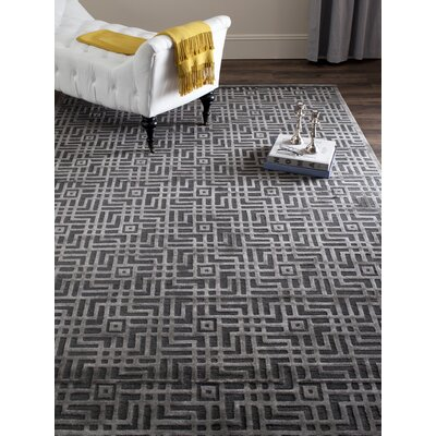 Somnus Hand-Knotted Charcoal Area Rug Rug Size: Rectangle 2 x 3