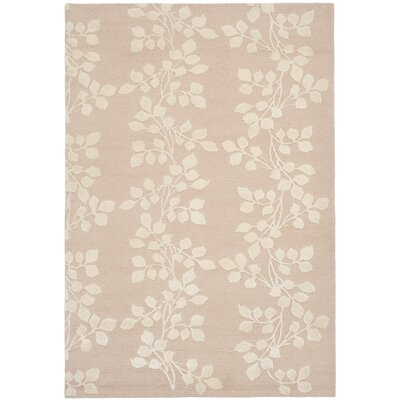 Bernick Hand Knotted Silk/Wool Blush/Ivory Area Rug