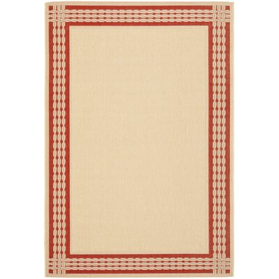Lakeside Ribbon Natural/Red Area Rug Rug Size: Runner 27 x 82