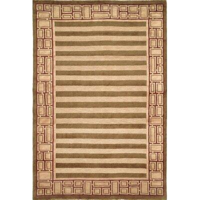 Kneiske Tibetan Hand Knotted Wool Green/Beige Area Rug