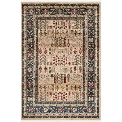 Margaux Beige/Navy Area Rug Rug Size: Rectangle 9 x 12