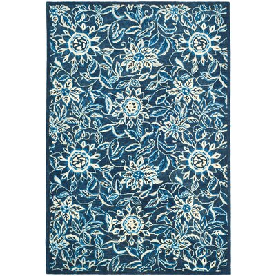 Marseille Floral Hand-Tufted Wool French Indigo Area Rug Rug Size: Square 13