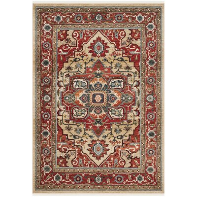 Quentin Beige/Red Area Rug Rug Size: Rectangle 33 x 410