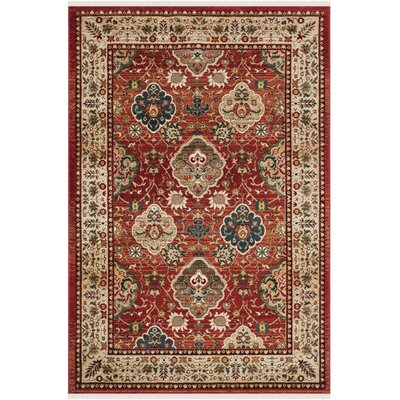 Camille Red/Beige Area Rug Rug Size: Rectangle 51 x 76