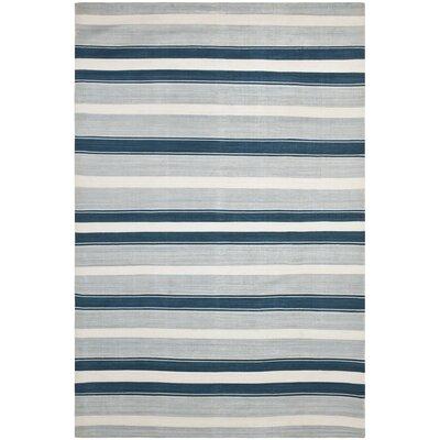Narragansett Stripe Hand-Woven Silk Ocean Sky Area Rug Rug Size: Rectangle 2 x 3