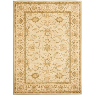 Oushak Ivory Area Rug Rug Size: Rectangle 96 x 13