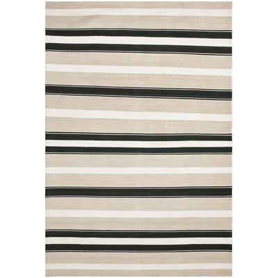 Narragansett Stripe Hand-Woven Silk Night Sand Area Rug Rug Size: Square 13