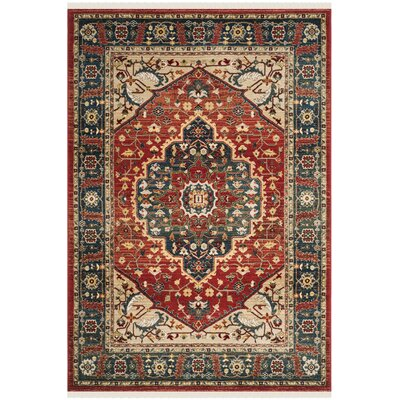 Chloe Red/Navy Area Rug Rug Size: Runner 26 x 8