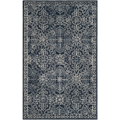 Etienne Hand-Tufted Wool Navy/Ivory Area Rug Rug Size: Rectangle 26 x 4
