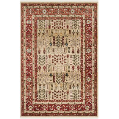 Margaux Red/Beige Area Rug Rug Size: Rectangle 8 x 10