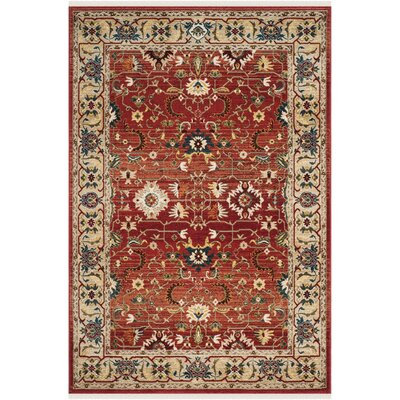 Ines Red/Beige Area Rug Rug Size: Rectangle 9 x 12
