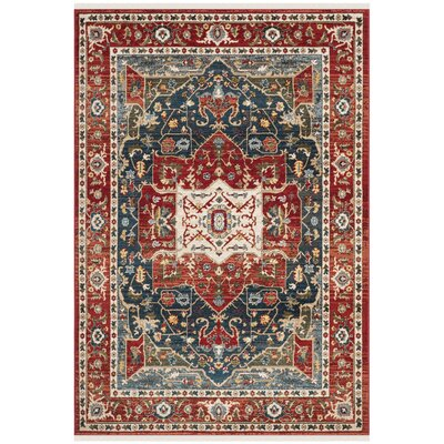 Camille Red/Navy Area Rug Rug Size: Runner 26 x 8