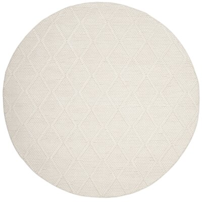 Millie Hand Woven Ivory Area Rug Rug Size: Round 6