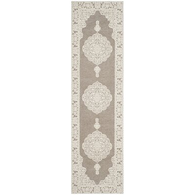 Marbella Hand-Woven Light Gray/Ivory Area Rug Rug Size: Runner 23 x 8