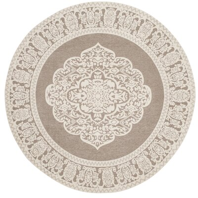 Marbella Hand-Woven Light Gray/Ivory Area Rug Rug Size: Round 6