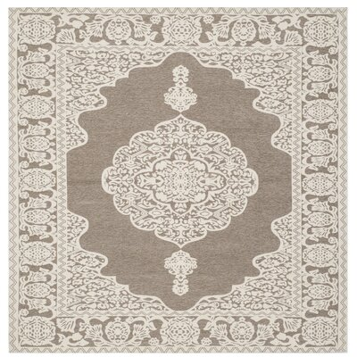 Marbella Hand-Woven Light Gray/Ivory Area Rug Rug Size: Square 6