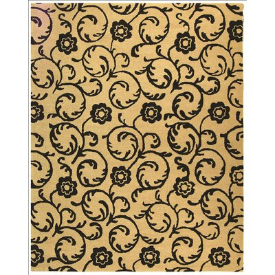Alvan Hand-Tufted Beige / Black Area Rug Rug Size: Rectangle 76 x 96