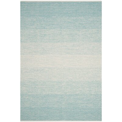 Saleem Hand-Woven Turquoise/Ivory Area Rug Rug Size: Rectangle 6 x 9