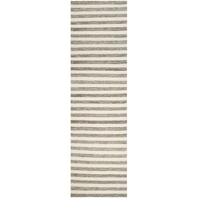 Dhurries Hand Woven Wool Brown/Ivory Area Rug Rug Size: Runner 26 x 10