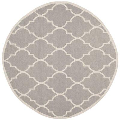 Dhurries Dark Grey/Ivory Area Rug Rug Size: Round 6