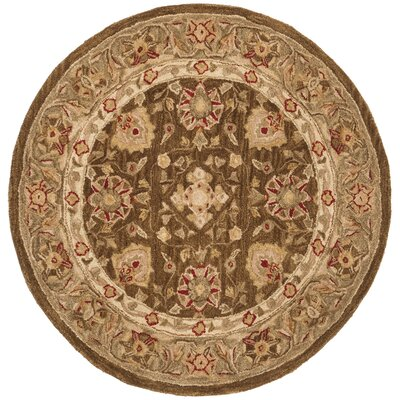 Anatolia Brown/Green Area Rug Rug Size: Round 4