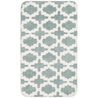 Candide Bath Rug Color: White/Teal