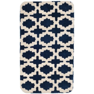 Candide Bath Rug Color: Cream/Navy