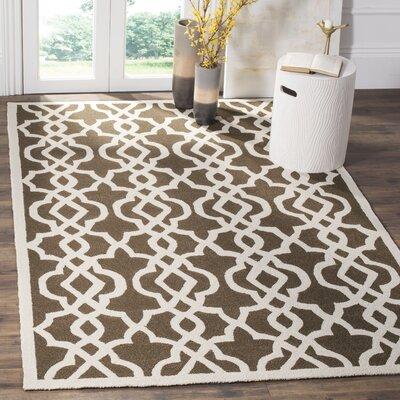 Daphne Outdoor Hand Tufted Brown/Cream Area Rug Rug Size: Rectangle 9 x 12