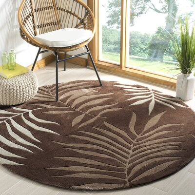 Gainesville Hand Tufted Brown Area Rug Rug Size: Round 6
