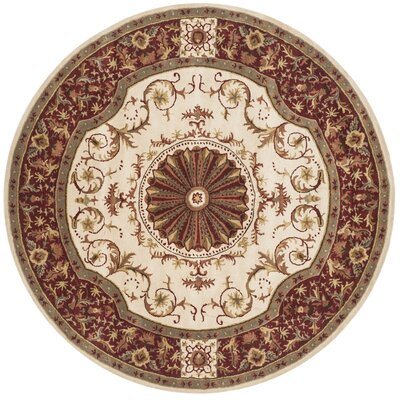 Latarra Hand Tufted Wool Ivory Area Rug Rug Size: Round 6