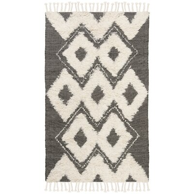 Albertina Hand Knotted Wool Black/Beige Area Rug Rug Size: Rectangle 4 x 6