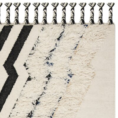McLellen Hand Knotted Wool Ivory Area Rug Rug Size: Rectangle 5 x 8