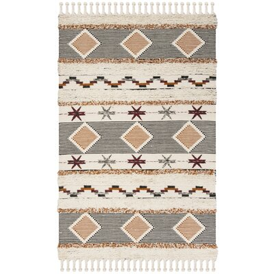 Aten Hand Knotted Wool Ivory Area Rug Rug Size: Rectangle 6 x 9