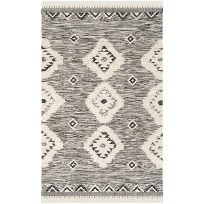 Wymore Hand Knotted Wool Black/Beige Area Rug Rug Size: Rectangle 9 x 12