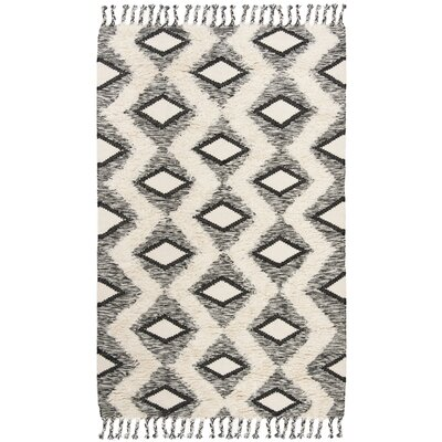 Albertina Hand Knotted Wool Beige/Black Area Rug Rug Size: Rectangle 6 x 9
