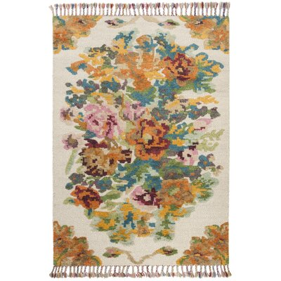 Bertha Hand Knotted Wool Orange Area Rug Rug Size: Rectangle 9 x 12