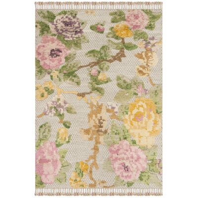 Bertha Hand Tufted Wool Pink/Green Area Rug Rug Size: Rectangle 6 x 9