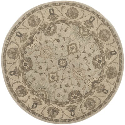 Caresse Hand Tufted Wool Beige Area Rug Rug Size: Round 6