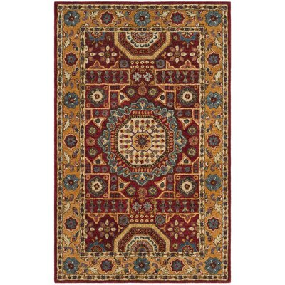 Murray Hand Tufted Wool Red Area Rug Rug Size: Round 6