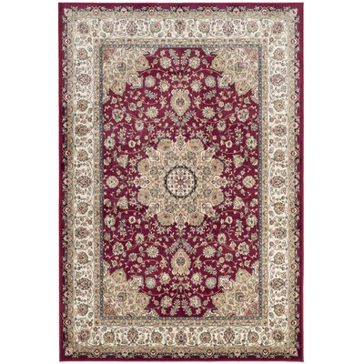 Carolus Red/Beige Area Rug Rug Size: Rectangle 53 x 76
