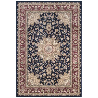 Carolus Red/Navy Area Rug Rug Size: Rectangle 22 x 37