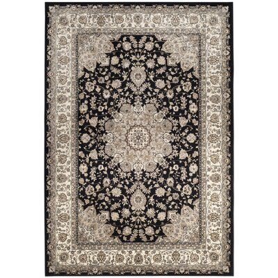 Carolus Traditional Black/Ivory Area Rug Rug Size: Rectangle 53 x 76