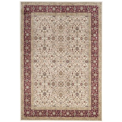Carolus Traditional Rectangle Ivory/Red Area Rug Rug Size: Rectangle 67 x 96
