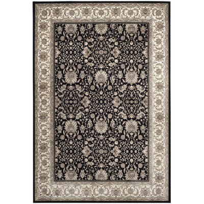 Carolus Power Loomed Black/Beige Area Rug Rug Size: Rectangle 53 x 76