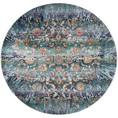 Tolleson Teal Area Rug Rug Size: Round 67