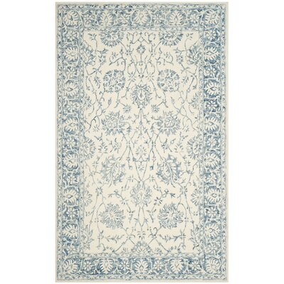 Bevis Hand Tufted Wool Ivory/Blue Area Rug Rug Size: Rectangle 4 x 6