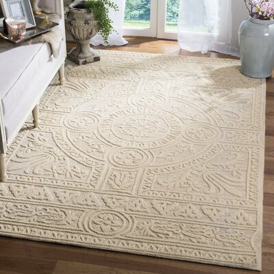 Jahiem Hand Tufted Wool Beige Area Rug Rug Size: Square 6