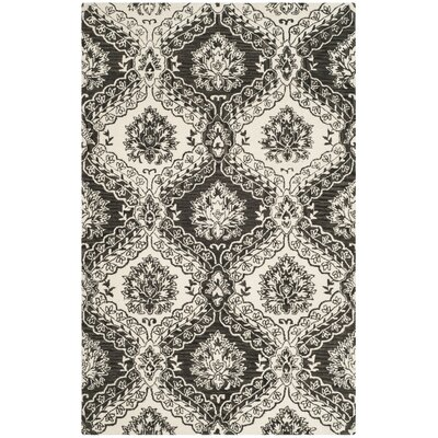 Bevis Hand Tufted Wool Grey/Black Area Rug Rug Size: Square 6